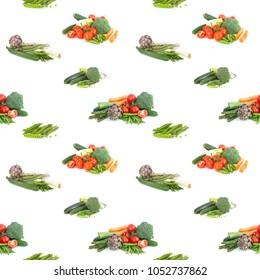 Seamless background of veggies on white
