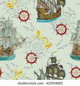 Seamless background with watercolor ships, anchor and wheel. Colorful pattern with graphic gulls and compass with hand drawn nautical elements. Repeated illustration with sea doodle symbols