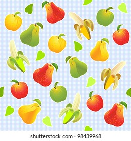 seamless background, yellow, green, red apples, pears, bananas, against the background of blue cells