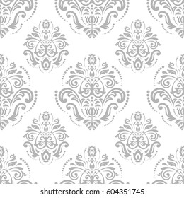 Seamless baroque light silver pattern. Traditional classic orient ornament