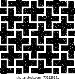 Seamless black and white grunge vintage plus outline pattern