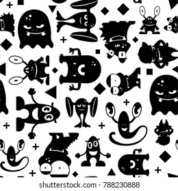 Seamless black and white pattern with monsters. Monochrome illustration