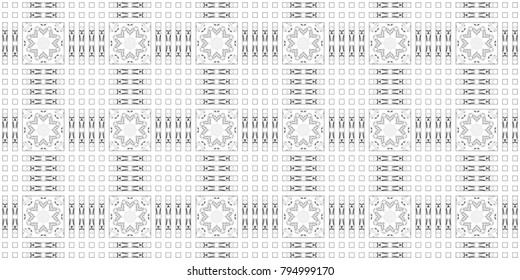 Seamless black and white symmetrical horizontal pattern for textile and backgrounds