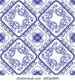 Seamless blue floral pattern. Background in the style of Chinese painting on porcelain or Russian gzhel style. Raster version