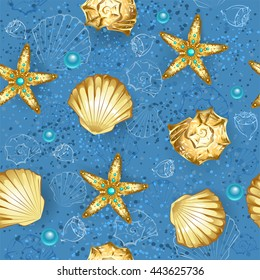 Seamless, blue, sandy background with gold seashells and starfish.