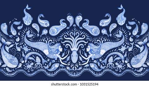 Seamless border pattern of blue hand painted fairy tale sea animals and mermaid. Watercolor fantasy fish, octopus, coral, sea shells, bubbles on a dark indigo background. Batik fringe, textile print