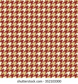 Seamless burgundy red and beige classic checked houndstooth textile pattern