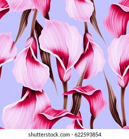 Seamless calla lilly flower background, elegant fashion colorful pattern with flowers