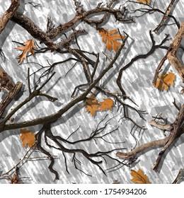 SEAMLESS CAMO PATTERN DEAD WOOD OAK - Shutterstock ID 1754934206