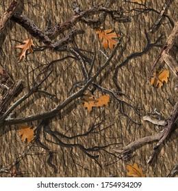 SEAMLESS CAMO PATTERN DEAD WOOD OAK - Shutterstock ID 1754934209