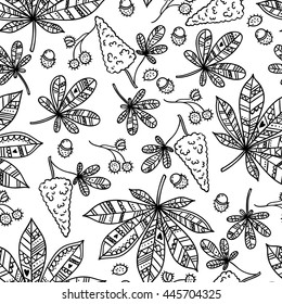 Seamless chestnut leaves pattern background. Raster flower nature illustration. Colorful doodle repeats for fabrics and packaging with spring blossoming chestnut. Chestnut leaf is the symbol of Kiev.