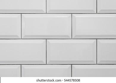 Seamless classic white metro ceramic tile texture.