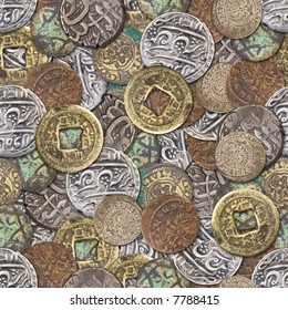 Seamless color coins wallpaper background
