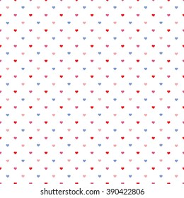 Seamless colored pattern with little hearts isolated on white