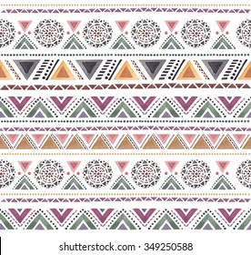 Seamless colorful aztec pattern. Watercolor illustration