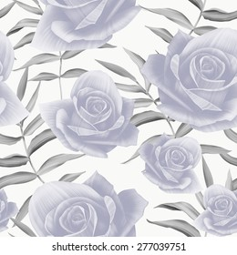 Seamless colorful floral pattern with roses flower. Vintage retro style botanical background.