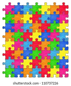 Seamless Colorful shiny Rainbow puzzle with textured effect