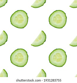 Seamless colourful pattern of fresh cucumber peaces isolated on white background. Top view. Flat lay composition. Pop art design. Food or vegetable background