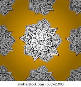 Seamless damask pattern background for wallpaper design in the style of Baroque. White pattern on yellow background with white elements. Ornate decoration.