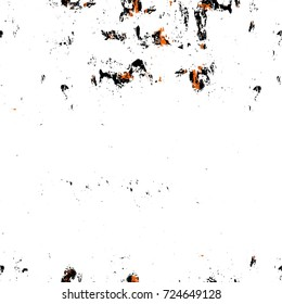 Seamless dark brown grunge background. Black white orange old weathered surface in horror style. Dirty spots, cracks, splashes. Abstract texture of a rusty aged surface. Light brown backdrop