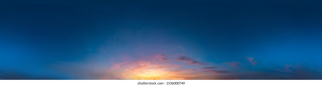 Seamless dark sky after sunset hdri panorama 360 degrees angle view with beautiful clouds  with zenith for use in 3d graphics or game as sky dome or edit drone shot