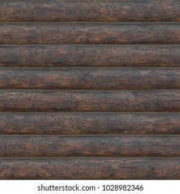 Seamless dark wooden log texture for graphic content. Wall natural colored background.