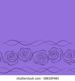 Seamless dashed pattern of horizontal abstract black and violet rose flowers and copy space (place for your text).