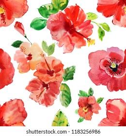 Seamless design background. Watercolor tropical flower red and delicate pink hibiscus with leaves and bud, flowery Hawaiian composition