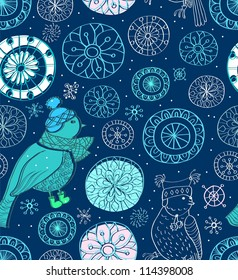 Seamless doodle background with snowflakes and birds