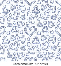 Seamless doodle cartoon backdrop with hand drawn hearts. Vector version also exist.