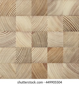 Seamless end grain wood texture. Cross cut lumber blocks.