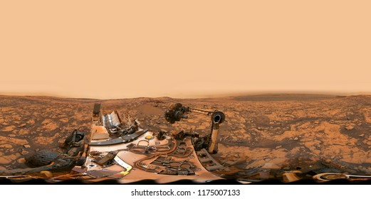 Seamless equirectangular projection of surface of Mars by NASA's Curiosity rover. 360 Panorama of Vera Rubin Ridge crater. Elements of this image furnished by NASA.
