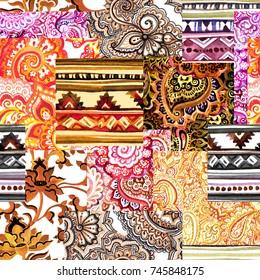 Seamless ethnic ornamental pattern - mix of decorative ornaments. Watercolor filigree design