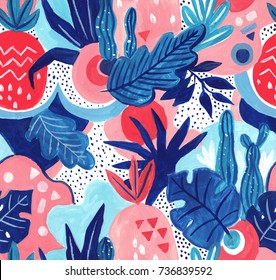 Seamless exotic pattern with tropical plants. Hand draw gouache background.