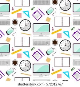 Seamless fabric. Flat design. Desk. Computer, Cup of coffee, a notebook, weekly. Working day.  Internet illustration