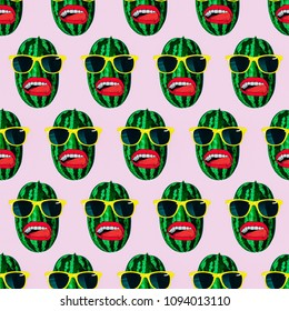 Seamless fashion watermelon pattern  Use for t-shirt, greeting cards, wrapping paper, posters, fabric print. Minimal flat lay. Summer pattern style