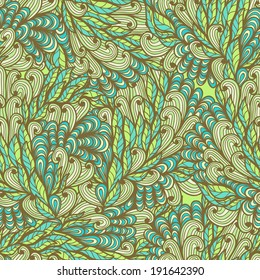 Seamless floral blue and green hand drawn doodle pattern. Raster version