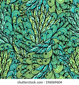 Seamless floral green hand drawn doodle pattern. Raster version