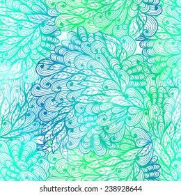 Seamless floral grunge  green gradient pattern