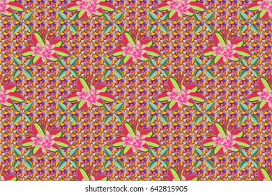 Seamless floral ornament. Modern flower pattern with royal flower. Colored orient pattern in pink and green colors.