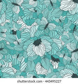 Seamless Floral Ornamental Pattern With Flowers, Leaves And Butterflies