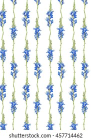 Seamless floral pattern. Blue floral background. Lines with stylized wild flowers. Hand drawn watercolor illustration with floral borders in soft and gentle blue colors.