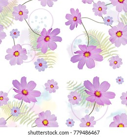 seamless floral pattern with cosmos flowers and leaves