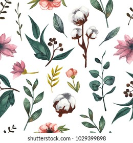Seamless floral pattern with cotton flowers and eucalyptus leaves. Hand-drawn watercolor background