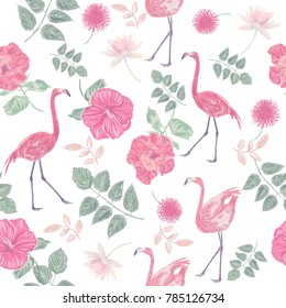 Seamless floral pattern with flamingo birds. Endless texture for your design.