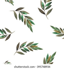 seamless floral pattern with green branch  in botanical style texture
