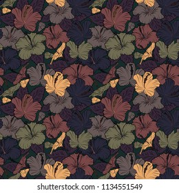 Seamless floral pattern with hibiscus flowers, leaves, decorative elements, splash, blots and drop in blue, black and brown colors. Doodle sketch style, hand-drawn illustration.