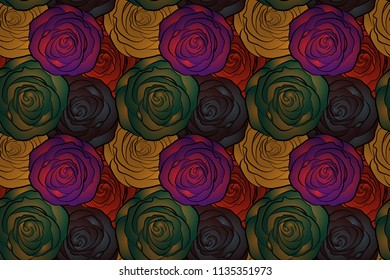 Seamless floral pattern with little abstract roses in green, brown and purple colors, raster illustration in vintage style.