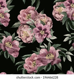 Seamless floral pattern with pink roses on dark background, watercolor.