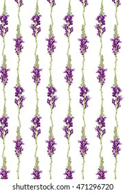 Seamless floral pattern. Purple floral background. Lines with stylized wild flowers. Hand drawn watercolor illustration with floral borders in soft and gentle purple colors.